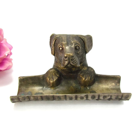 Vintage Brass Retriever Dog Desk Organizer Letter Pen Holder - Attic and Barn Treasures