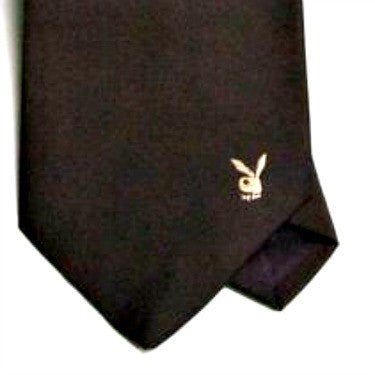 Vintage Dark Brown Playboy Necktie with Embroidered Logo - Attic and Barn Treasures
