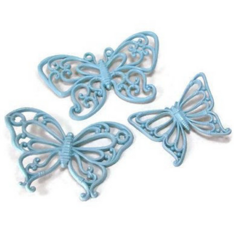 Vintage Blue Butterfly Wall Decor Set of Three 1970s by Homco