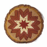 Vintage Starburst Calico Folded Fabric Wall Hanging Embroidery Hoop Art Earthtones - Attic and Barn Treasures
