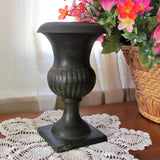 Black Vintage Cast Metal Petite Plant Urn - Attic and Barn Treasures
