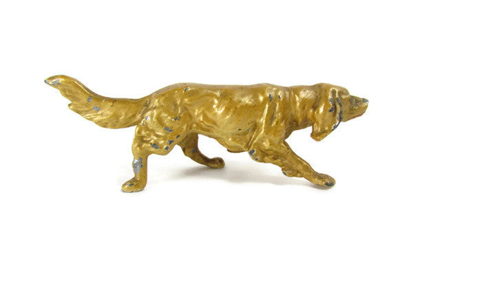 Vintage Standing Pointing Setter Dog Chippy Gold Paint - Attic and Barn Treasures