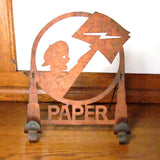 Vintage Metal Newsboy Silhouette Newspaper Stand Rack c. Early 1900's - Attic and Barn Treasures