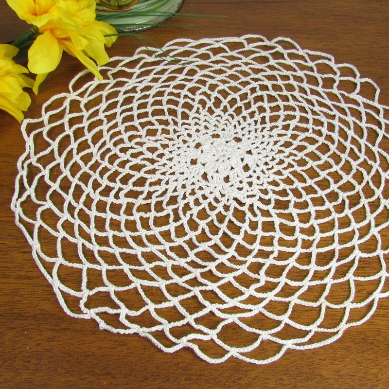 Vintage Round Crochet Doily Flower And Lace Pattern Attic And Barn