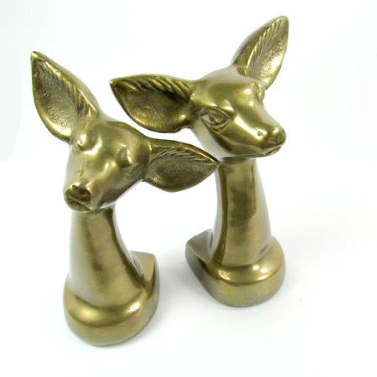 Vintage Solid Brass Deer Doe Head Bookends - Attic and Barn Treasures