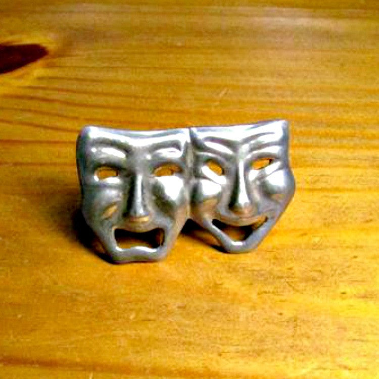 Vintage Comedy Tragedy Theatre Drama Mask Brooch Sterling Silver - Attic and Barn Treasures