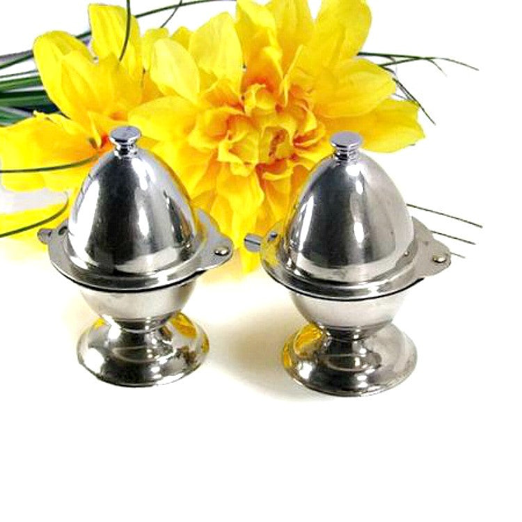 Two Antique Silver Plate Soft Boiled Egg Cups with Built In Topper Slicer - Attic and Barn Treasures