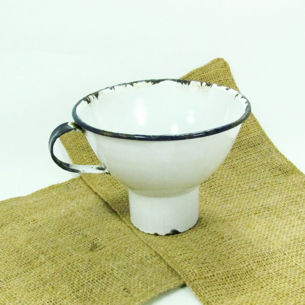 Vintage White and Blue Enamel Canning Funnel - Attic and Barn Treasures