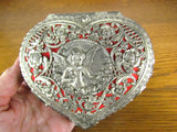 Pierced Metal Vintage Heart Shape Ring Box Red Velvet Lined - Attic and Barn Treasures