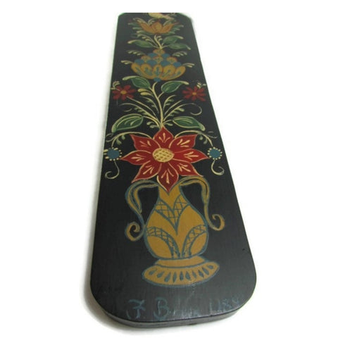 Vintage Folk Art Tole Painted Wood Hanging Decor