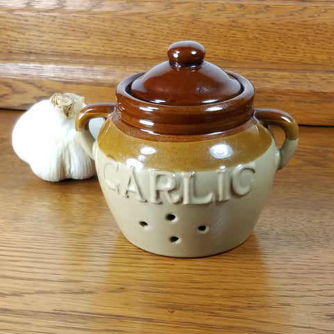 Earthenware Vintage Garlic Pot - Attic and Barn Treasures