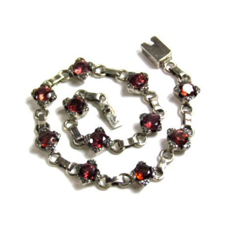 Vintage Silver Bracelet With Prong Set Garnet Gemstones