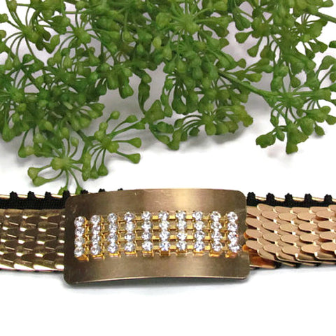 Gold Tone Vintage Fish Scale Belt with Rhinestone Buckle - Attic and Barn Treasures