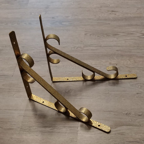 Vintage Sturdy Metal Textured Scroll Shelf Bracket Pair Goldtone - Attic and Barn Treasures