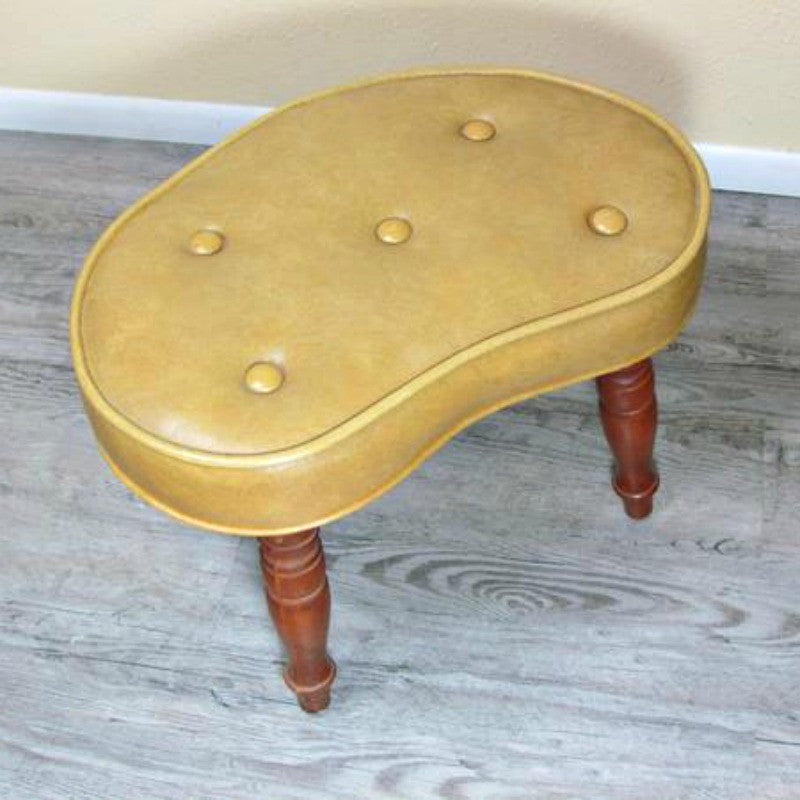 Vintage Gold Vinyl Kidney Shaped Footstool Hassock By Babcock Phillips - Attic and Barn Treasures