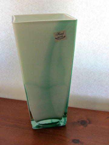 Vintage Green And White Cased Art Glass Vase Poland Attic And Barn