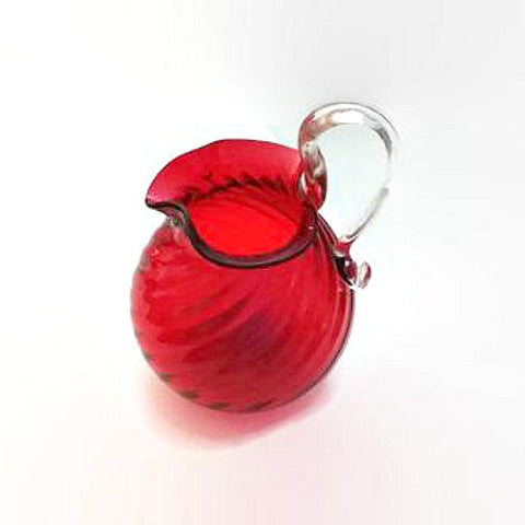 Vintage Hand Blown Miniature Red Pitcher Vase Toothpick Holder