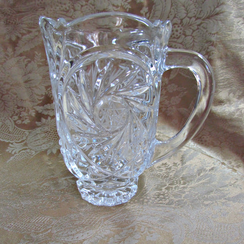 Vintage Pinwheel Design Glass Water Pitcher - Attic and Barn Treasures