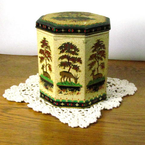 Vintage Octagon Woodland Scene Biscuit Tin with Hinged Lid