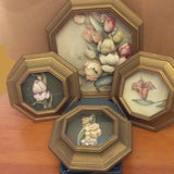 Vintage Homco Shadow Box 3D Flower Art Set of 4 - Attic and Barn Treasures