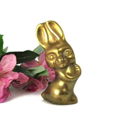Vintage Brass I Love You Bunny Paperweight