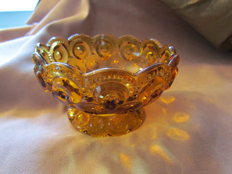 Moon & Stars Amber Gold Compote Vintage - Attic and Barn Treasures