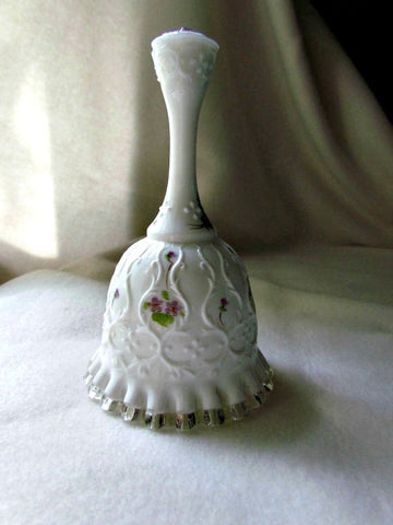 Stunning Vintage Fenton Silver Crest Hand Painted and Signed Bell - Attic and Barn Treasures