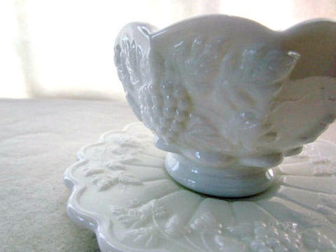 Vintage Jam Berry Bowl and Saucer by Westmoreland in Milk Glass - Attic and Barn Treasures