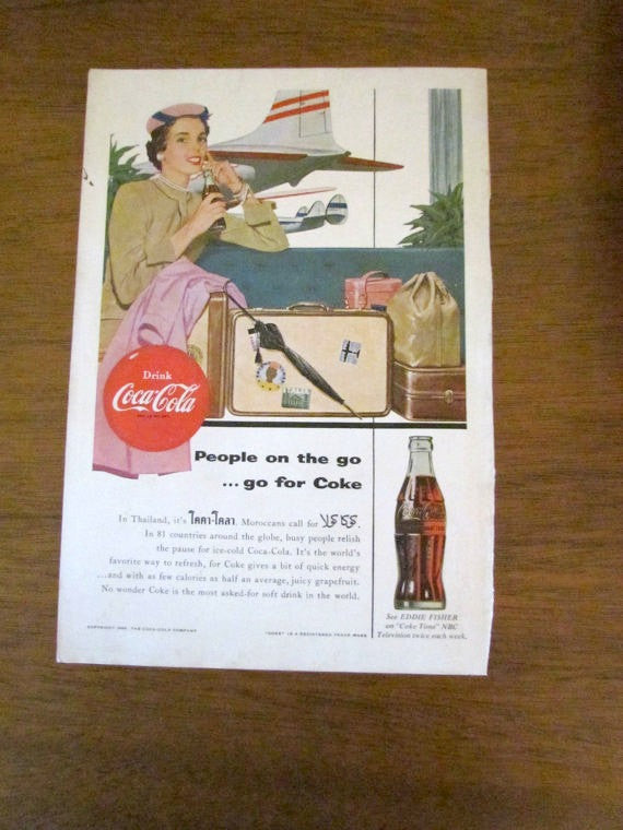 Vintage 1954 People on the go ...... go for Coke Coca-Cola Ad - Attic and Barn Treasures