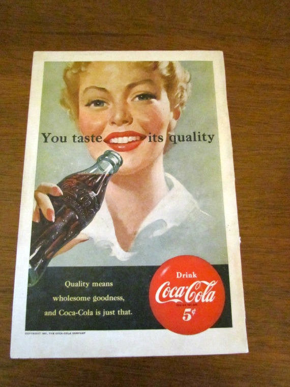 Vintage 1951 Coca Cola Ad You Taste Its Quality      Wholesome