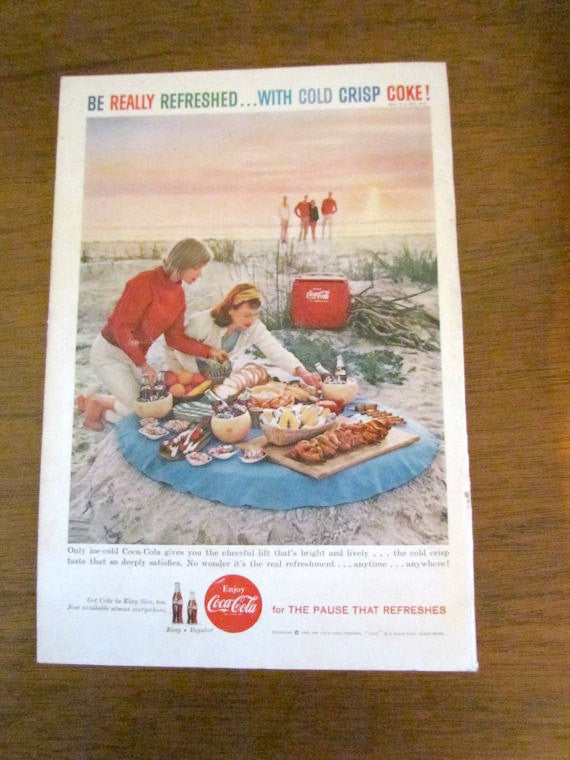 Vintage 1959 Coke Ad Beach Picnic Scene - Attic and Barn Treasures