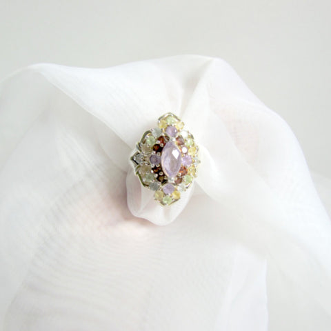 Multicolor Vintage Gemstone Ring Gold Vermeil - Attic and Barn Treasures