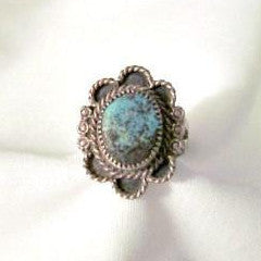 Turquoise and Silver Ring Rope Edge Double Shank Vintage size 6 - Attic and Barn Treasures