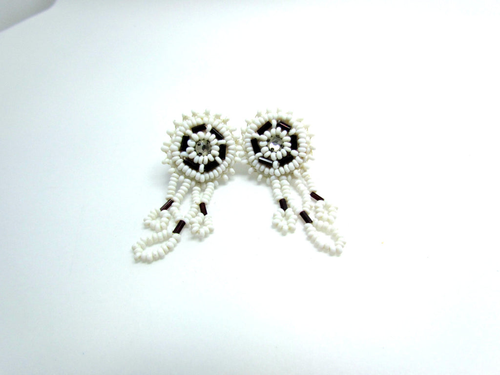 Vintage White Seed Bead Wedding Earrings - Attic and Barn Treasures
