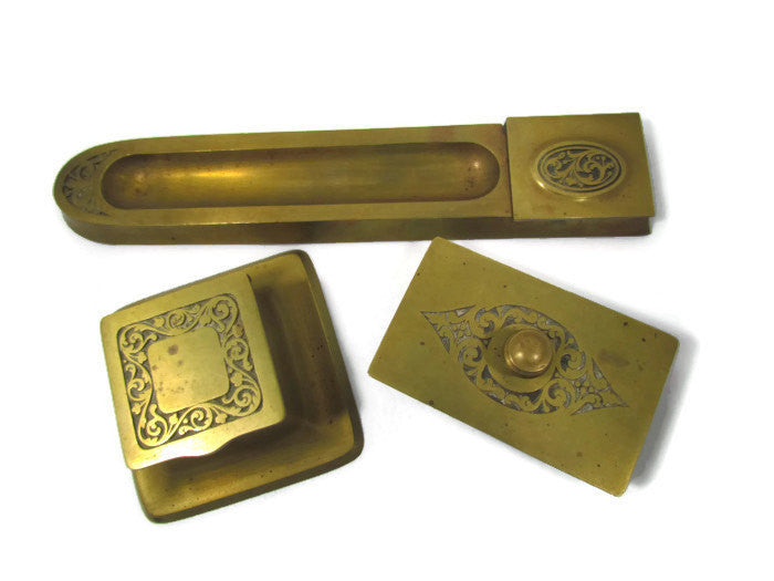 Vintage Solid Brass 3 Piece Matching Desk Set - Attic and Barn Treasures