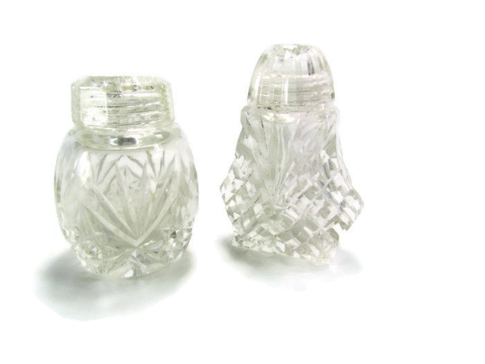 Vintage Cut Glass Salt or Pepper Shakers With Glass Tops - Attic and Barn Treasures