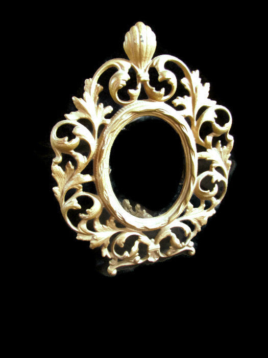 Vintage Ornate Baroque Style Oval Metal Stand Up Picture Frame - Attic and Barn Treasures