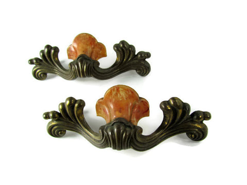 Vintage Art Deco Drawer Pull Handle Pair - Attic and Barn Treasures