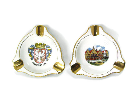 Two Vintage Porcelain Ashtrays German Bavaria Hallerstein Schaller - Attic and Barn Treasures