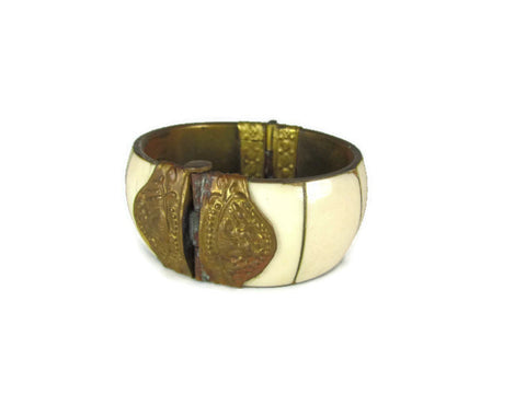 Vintage Bone and Brass Cuff Bangle Bracelet Boho Natural - Attic and Barn Treasures