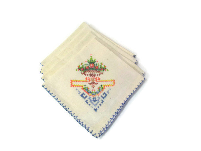 Linen Lunch Napkins Floral Cross Stitch Set of 4 - Attic and Barn Treasures