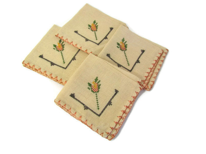 Beige Linen Cocktail Brunch Napkins Cross Stitch Set of 4 - Attic and Barn Treasures