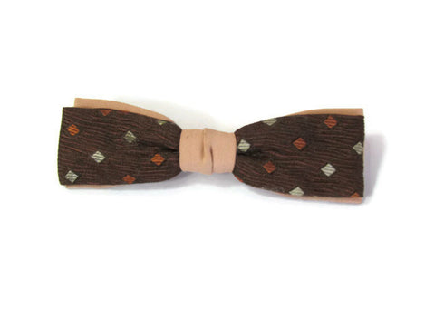 Vintage 1950s Brown Stripe and Black Bow Ties - set of 2 - Attic and Barn Treasures