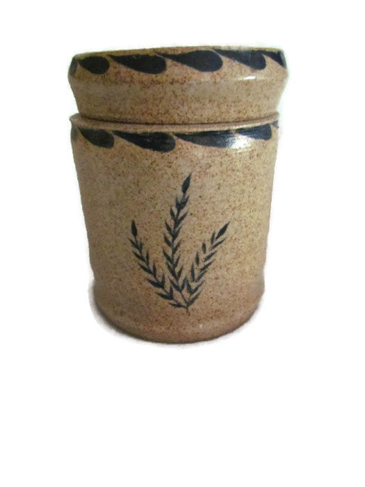 Hand Painted Vintage Stoneware Pottery Canister - Attic and Barn Treasures