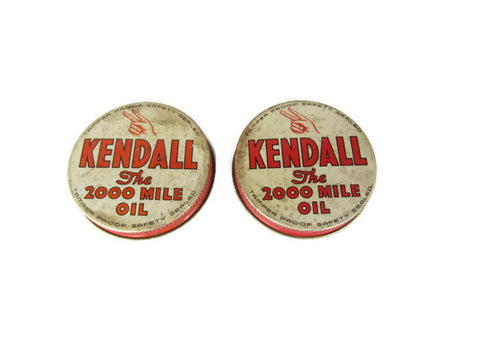 Vintage Kendall Motor Oil Screw on Lids RARE - Attic and Barn Treasures