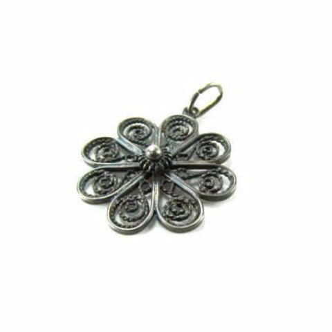 Vintage Silver Coiled Wire Flower Pendant - Attic and Barn Treasures