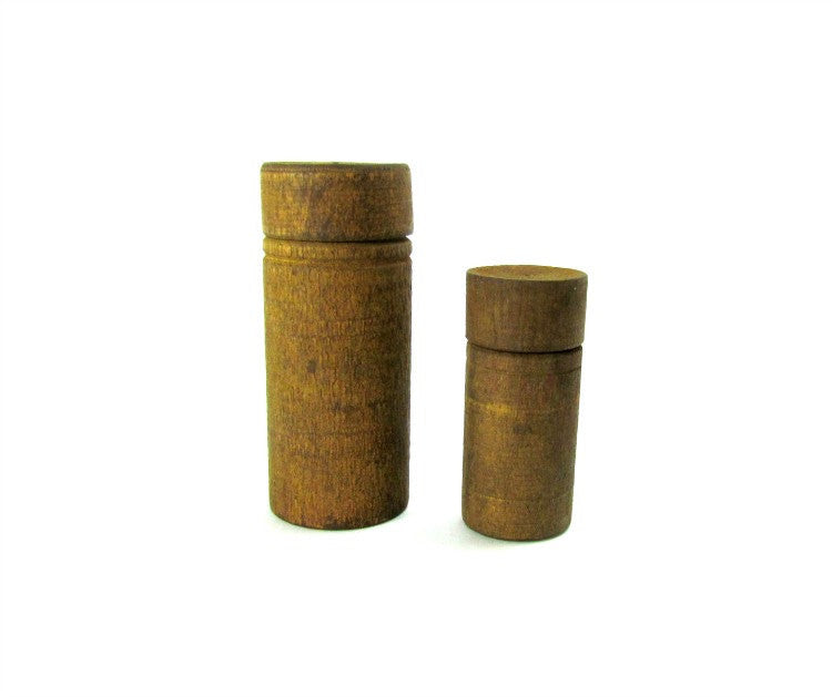 Antique Small Round Wood Sewing Needle Containers with Lids - Attic and Barn Treasures