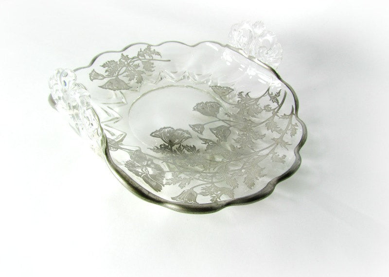 Silver City Flanders Folded Glass Nappy Dish Vintage - Attic and Barn Treasures
