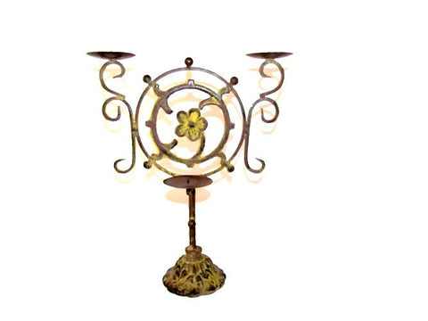 Large Cast Iron Candelabra Sculpture Vintage OOAK Candleholder - Attic and Barn Treasures