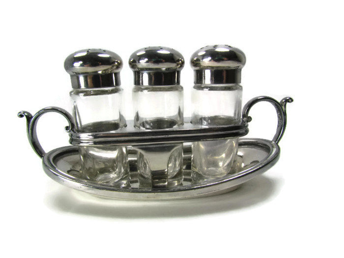 SOLD Reed & Barton Vintage Silver Caster Cruet Shaker Set - Attic and Barn Treasures